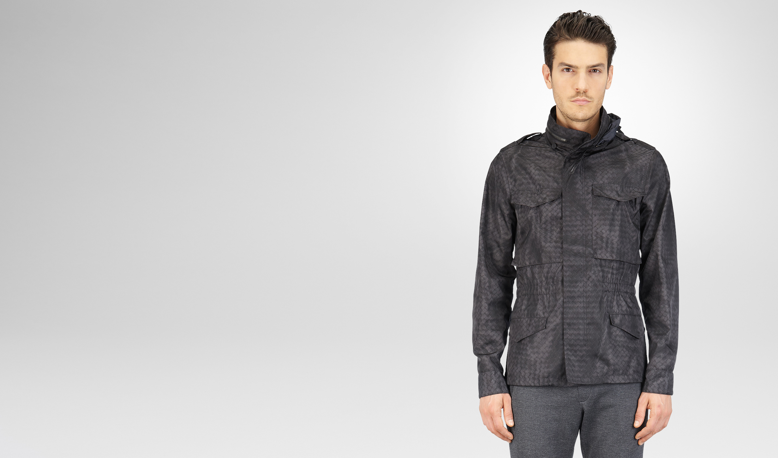 BOTTEGA VENETA Cappotto o Giacca U PARKA NEW DARK GREY IN INTRECCIOLUSION pl