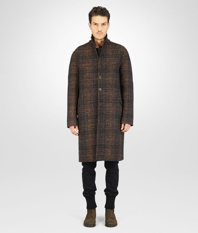 BOTTEGA VENETA Nero New Bronze Double Check Shetland Wool Coat Coat or Jacket U fp