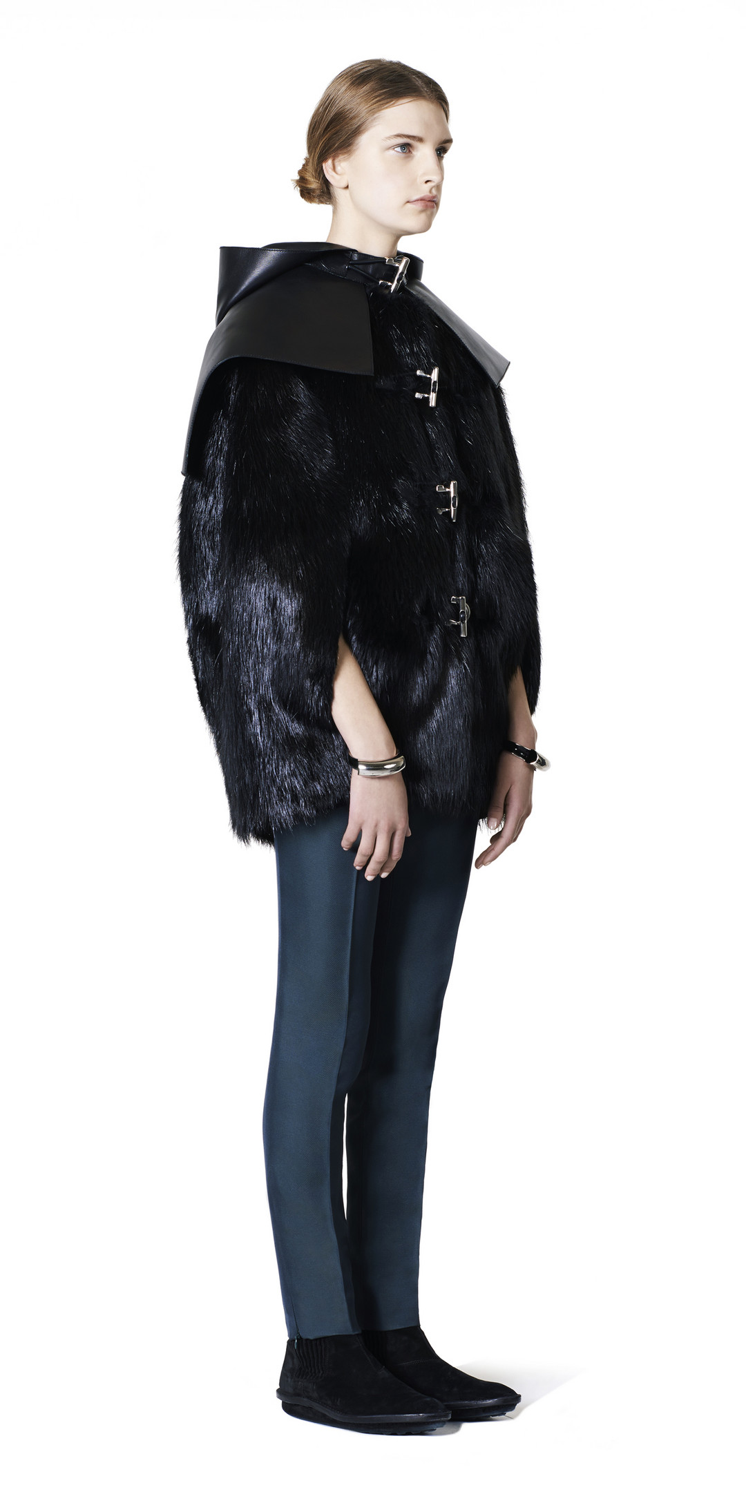 BALENCIAGA Balenciaga Toggle Fur Cape Coats D f