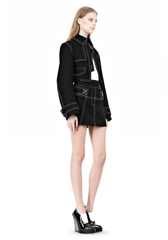 ALEXANDER WANG CUTAWAY TRENCH WITH CONTRAST STITCHING Jacket Adult 12_n_e