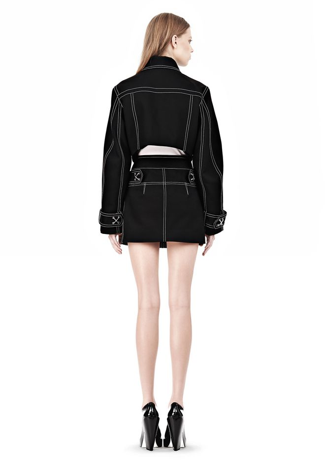 ALEXANDER WANG CUTAWAY TRENCH WITH CONTRAST STITCHING Jacket Adult 12_n_r