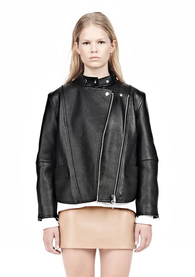 ALEXANDER WANG CROPPED BIKER LEATHER JACKET PARKA Adult 12_n_a