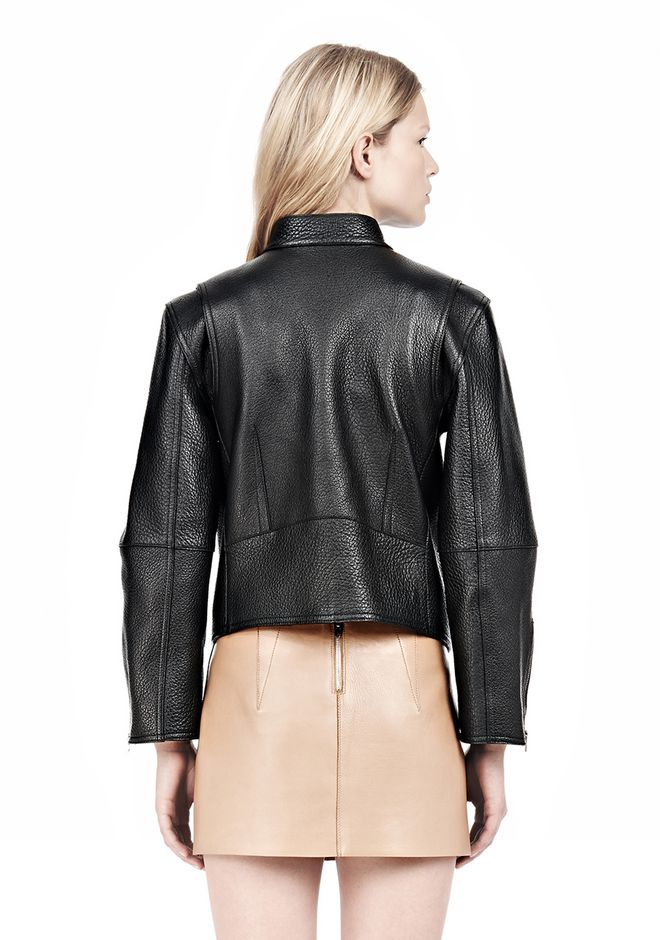 ALEXANDER WANG CROPPED BIKER LEATHER JACKET PARKA Adult 12_n_d