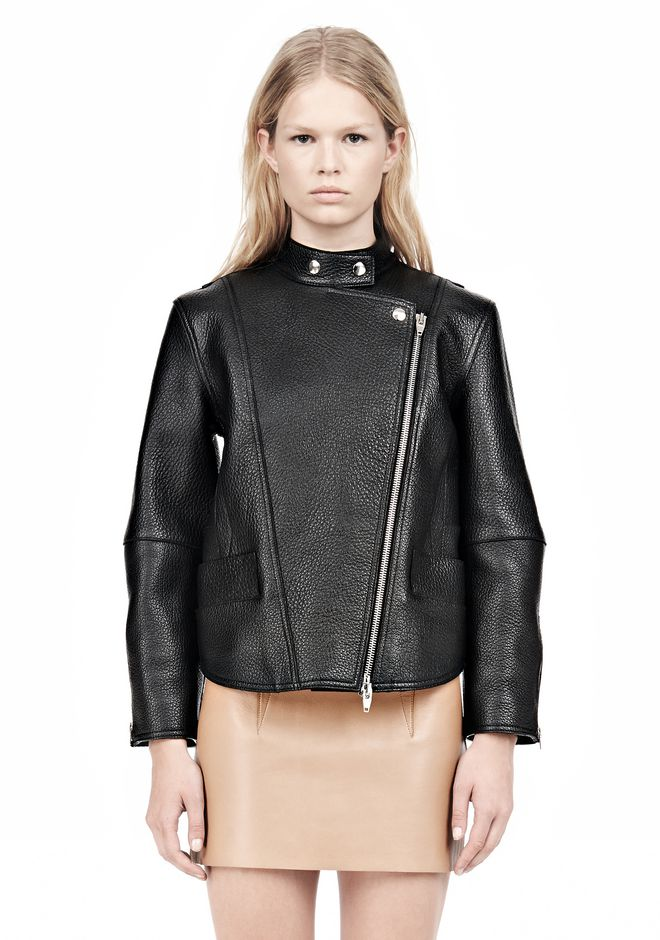 ALEXANDER WANG CROPPED BIKER LEATHER JACKET PARKA Adult 12_n_e