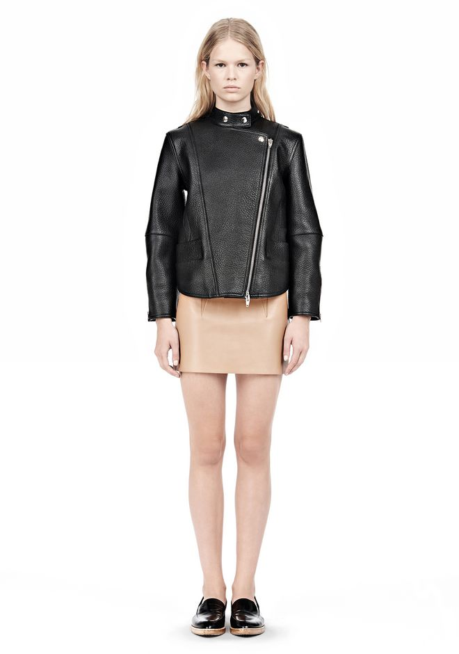 ALEXANDER WANG CROPPED BIKER LEATHER JACKET PARKA Adult 12_n_f