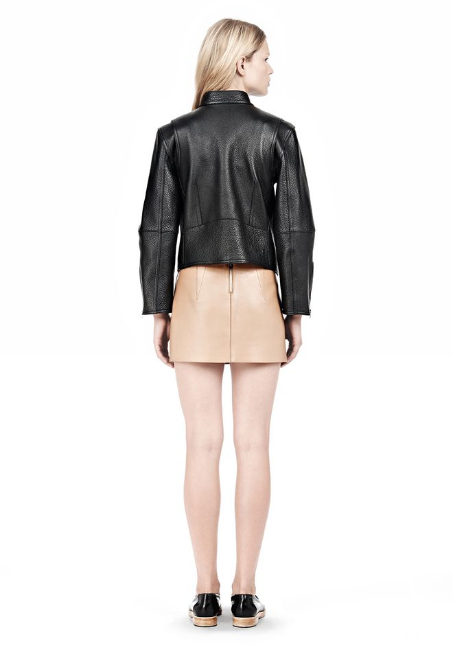 ALEXANDER WANG CROPPED BIKER LEATHER JACKET PARKA Adult 12_n_r