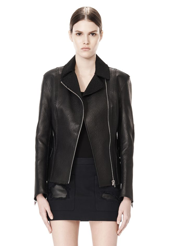 ALEXANDER WANG EXCLUSIVE LEATHER BIKER JACKET WITH RAW EDGE FINISH Jacket Adult 12_n_d