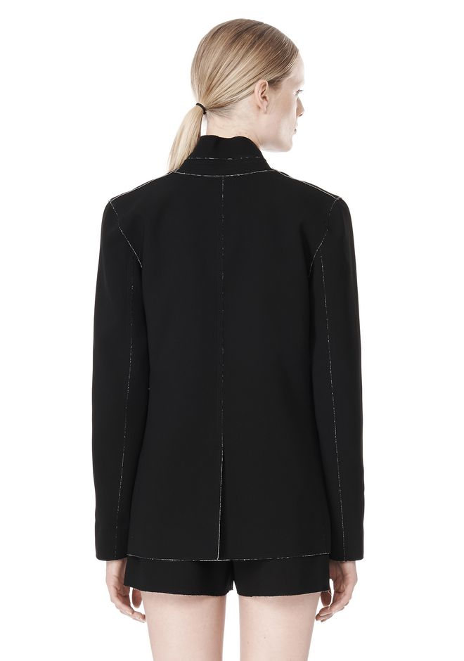 T by ALEXANDER WANG DOUBLE FACE BONDED COLLAR BLAZER JACKETS AND OUTERWEAR  Adult 12_n_a