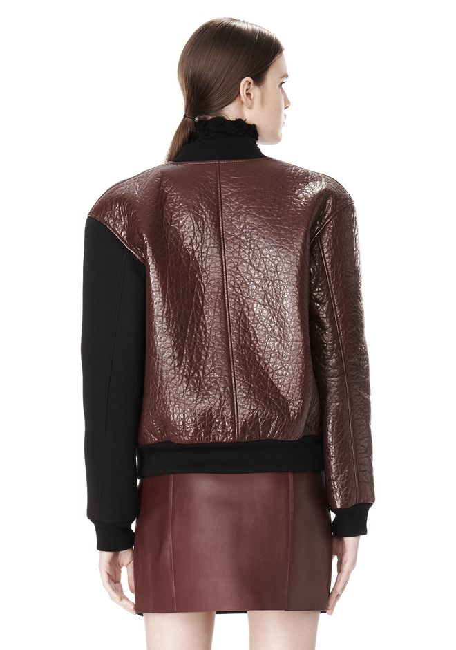 T by ALEXANDER WANG LEATHER NEOPRENE VARSITY JACKET Jacket Adult 12_n_a