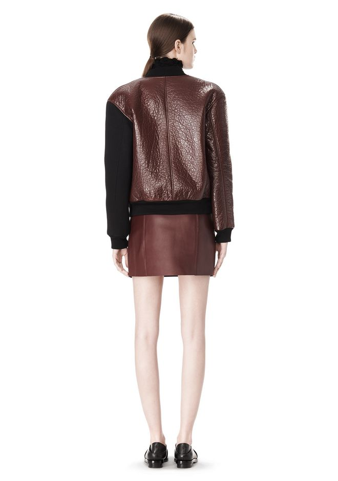T by ALEXANDER WANG LEATHER NEOPRENE VARSITY JACKET Jacket Adult 12_n_r