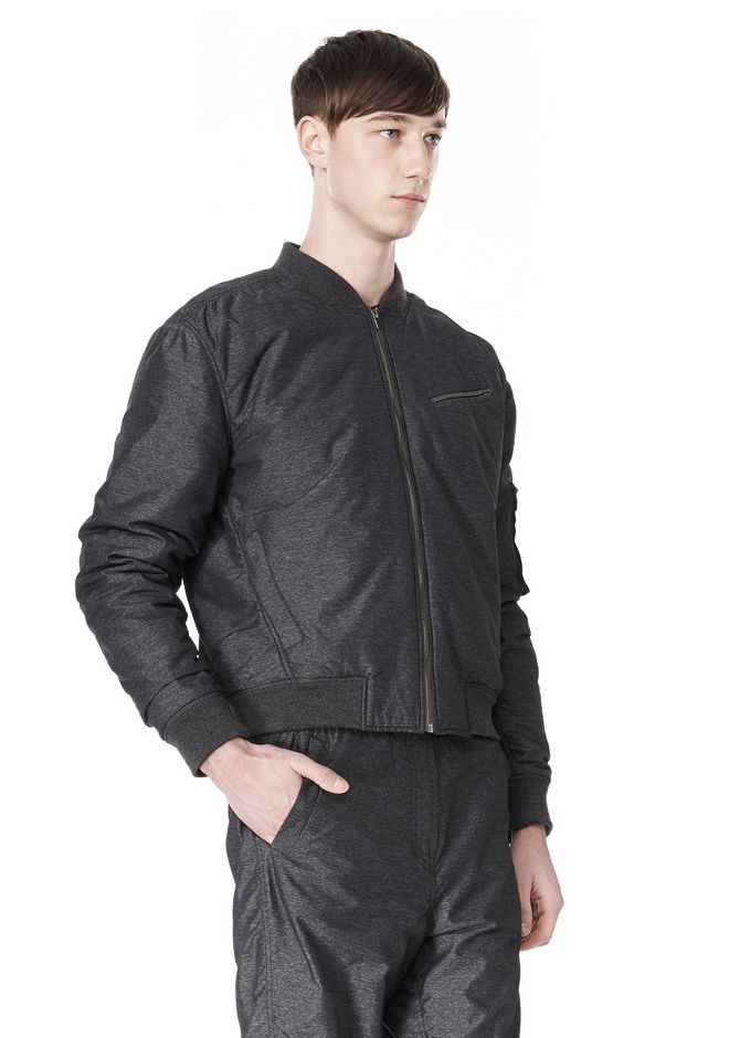 T by ALEXANDER WANG MELANGE DOBBY NYLON BOMBER JACKET JACKETS AND OUTERWEAR  Adult 12_n_a