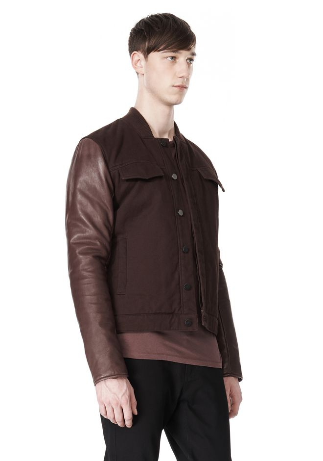 T by ALEXANDER WANG COTTON CANVAS TWILL JACKET WITH LEATHER SLEEVES Jacket Adult 12_n_a