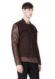 T by ALEXANDER WANG COTTON CANVAS TWILL JACKET WITH LEATHER SLEEVES Jacket Adult 8_n_a