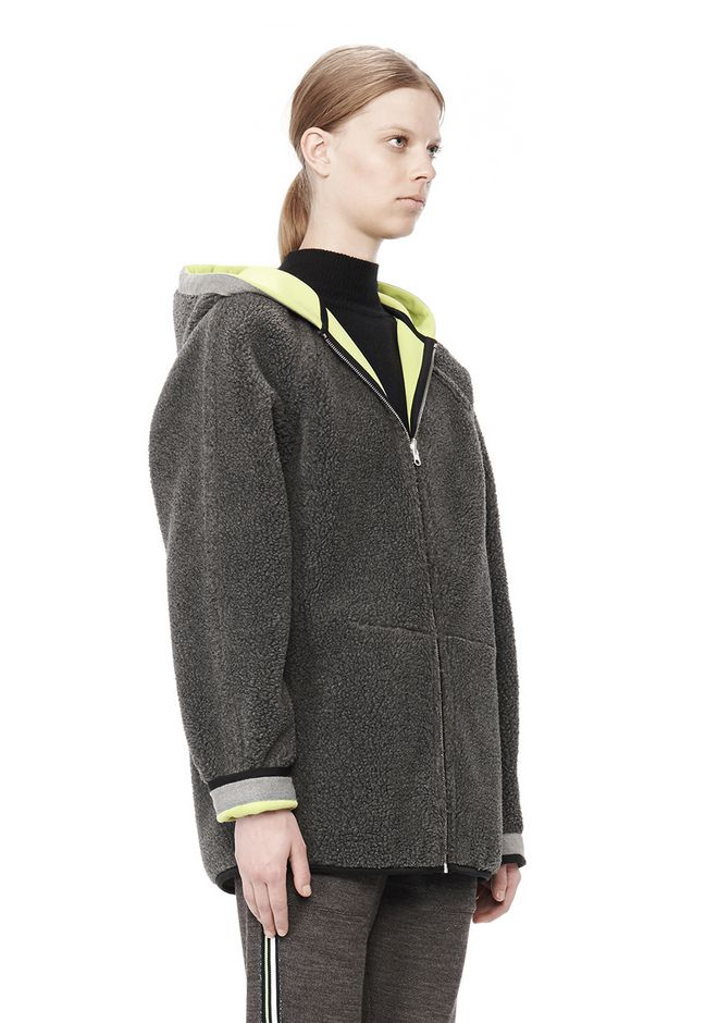 T by ALEXANDER WANG BONDED FLEECE REVERSIBLE HOODED JACKET Jacket Adult 12_n_a