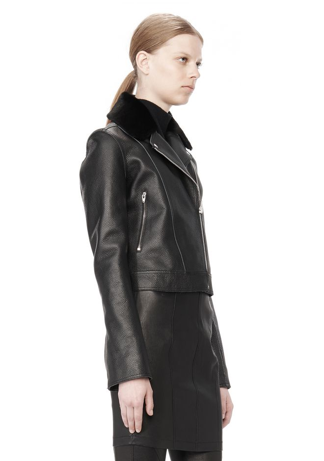 T by ALEXANDER WANG PEBBLED LEATHER MOTORCYCLE JACKET Jacket Adult 12_n_a