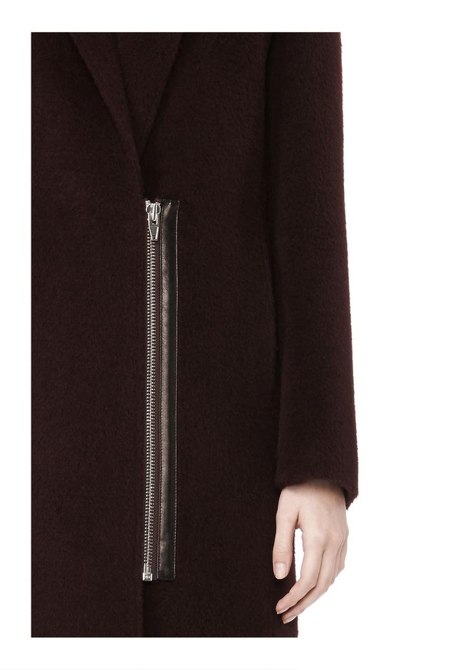 T by ALEXANDER WANG MOHAIR ALPACA WOOL FELT LONG CAR COAT JACKETS AND OUTERWEAR  Adult 12_n_a