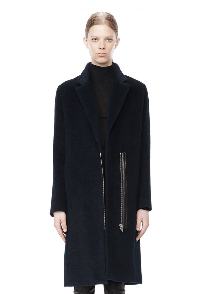T by ALEXANDER WANG MOHAIR ALPACA WOOL FELT LONG CAR COAT JACKETS AND OUTERWEAR  Adult 12_n_d