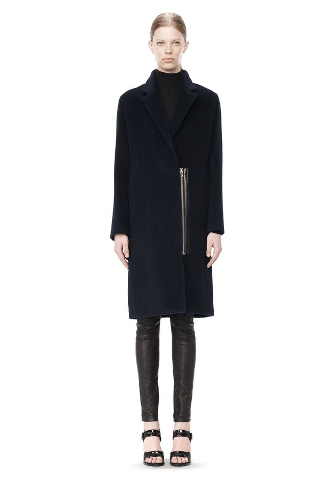 T by ALEXANDER WANG MOHAIR ALPACA WOOL FELT LONG CAR COAT JACKETS AND OUTERWEAR  Adult 12_n_f