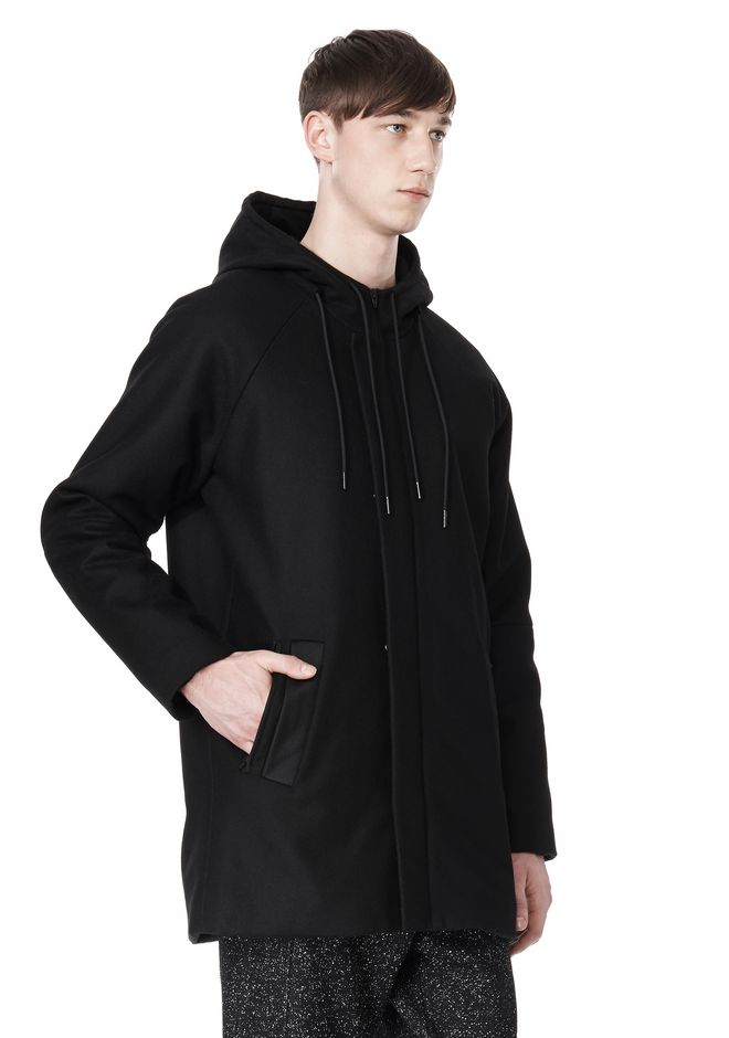 T by ALEXANDER WANG WOOL NYLON FELT & MESH COMBO DUFFEL COAT JACKETS AND OUTERWEAR  Adult 12_n_a