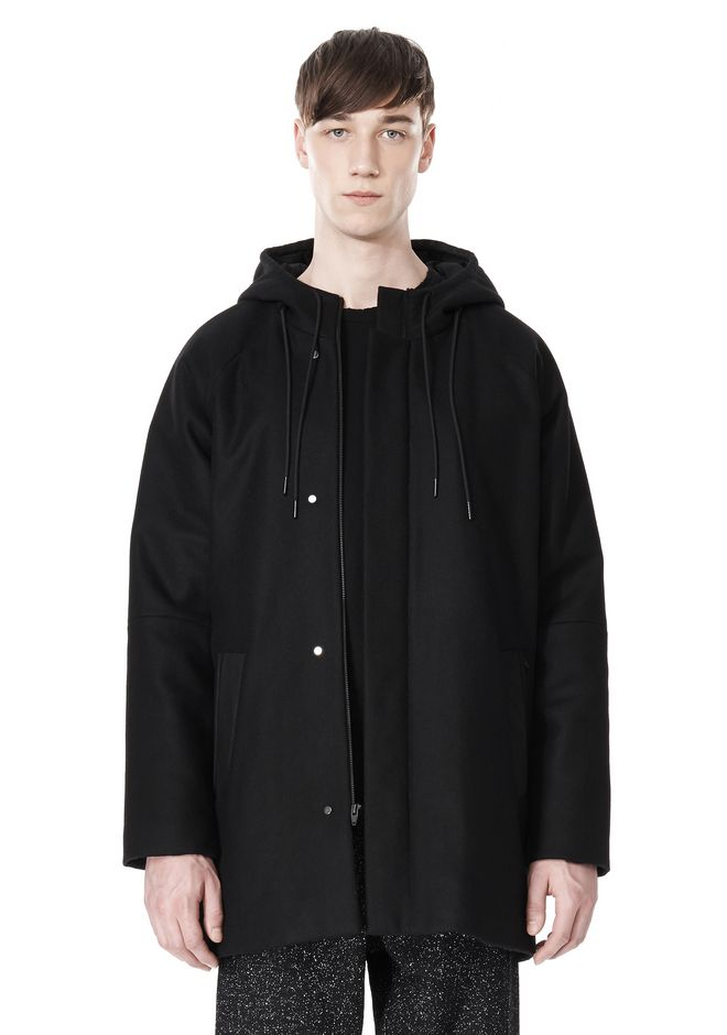 T by ALEXANDER WANG WOOL NYLON FELT & MESH COMBO DUFFEL COAT JACKETS AND OUTERWEAR  Adult 12_n_e