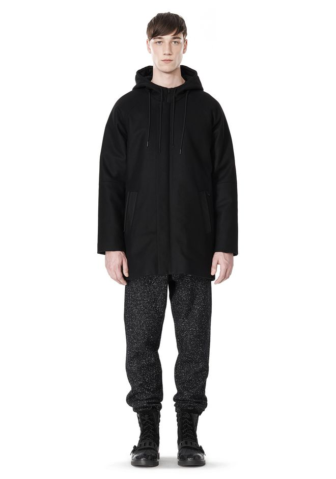 T by ALEXANDER WANG WOOL NYLON FELT & MESH COMBO DUFFEL COAT JACKETS AND OUTERWEAR  Adult 12_n_f