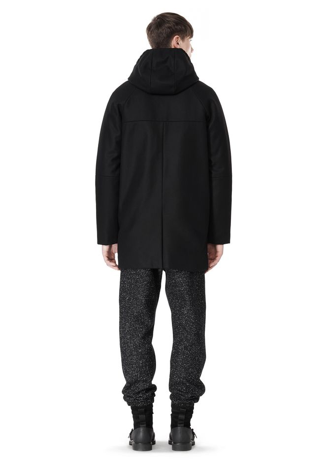 T by ALEXANDER WANG WOOL NYLON FELT & MESH COMBO DUFFEL COAT JACKETS AND OUTERWEAR  Adult 12_n_r