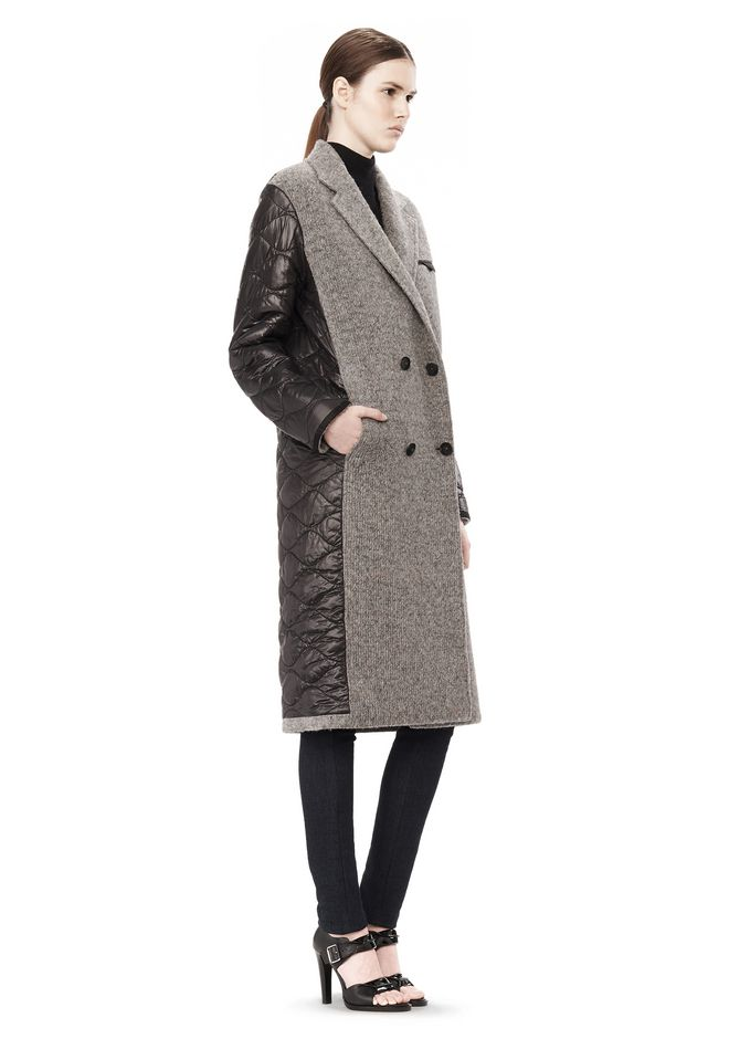 T by ALEXANDER WANG DONEGAL & NYLON QUILTED COMBO REVERSIBLE COAT JACKETS AND OUTERWEAR  Adult 12_n_e