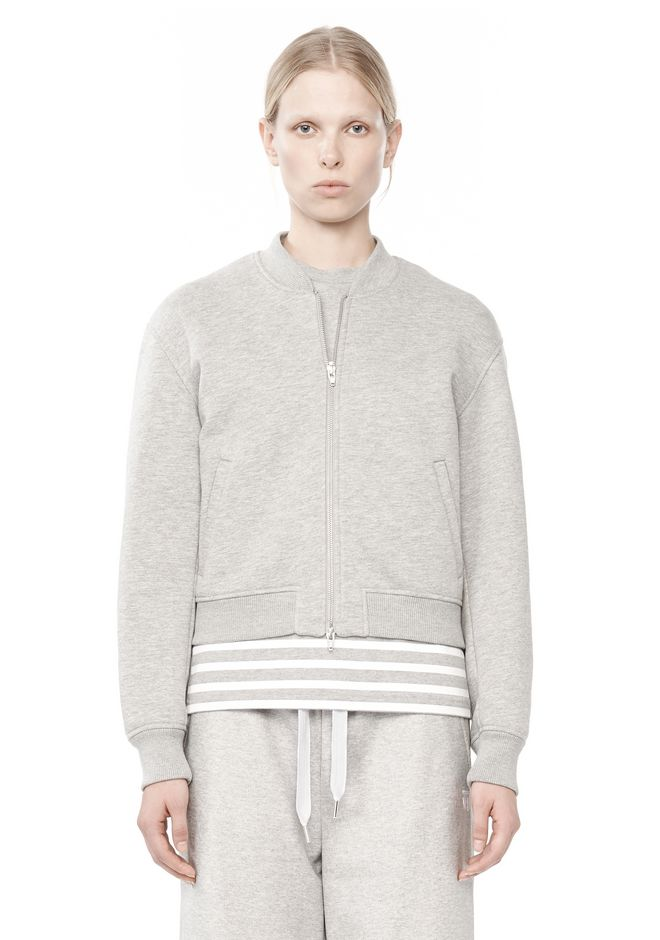 T by ALEXANDER WANG BONDED FLEECE BOMBER JACKET JACKETS AND OUTERWEAR  Adult 12_n_e