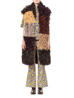 Marni Long-haired patchwork vest in shearling Woman