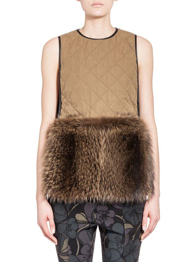 Marni Gilet in marmotta con profili in pelle e pelliccia Donna - 1