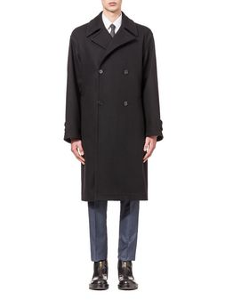 Marni Runway coat in felt with belt and frogs Man