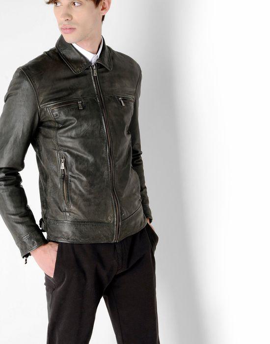 Trussardi jeans giacca pelle uomo