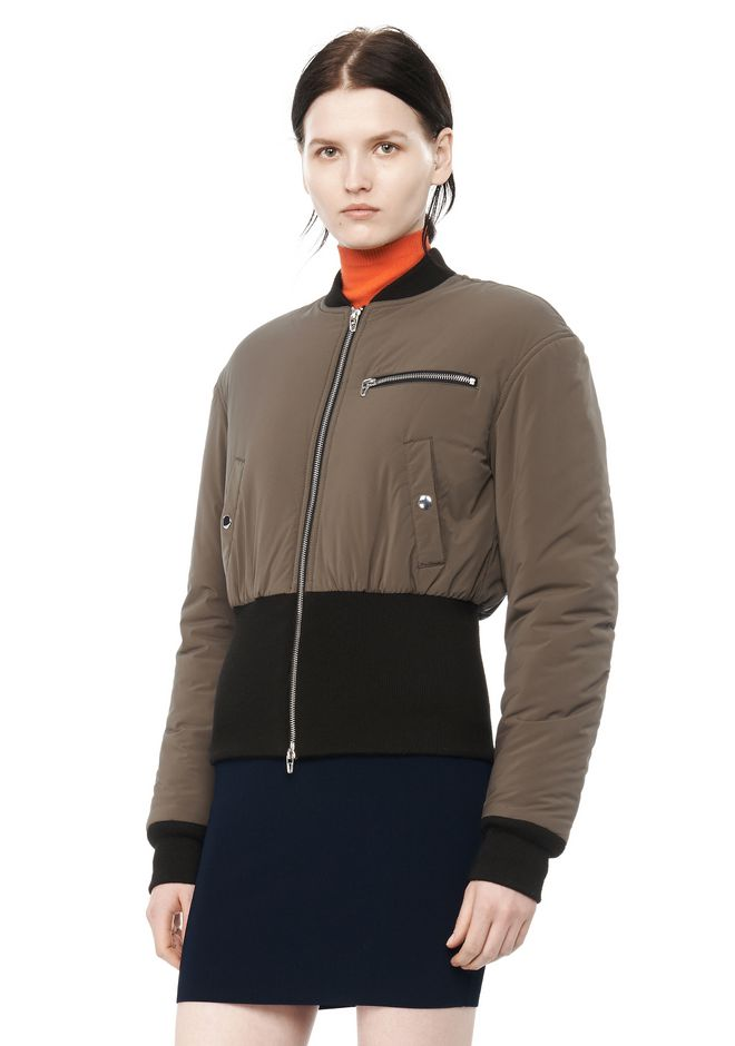 T by ALEXANDER WANG CROPPED PUFFER BOMBER JACKETS AND OUTERWEAR  Adult 12_n_a