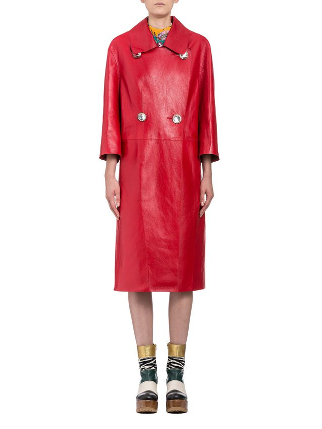 Marni Duster coat in shiny lambskin Woman - 1