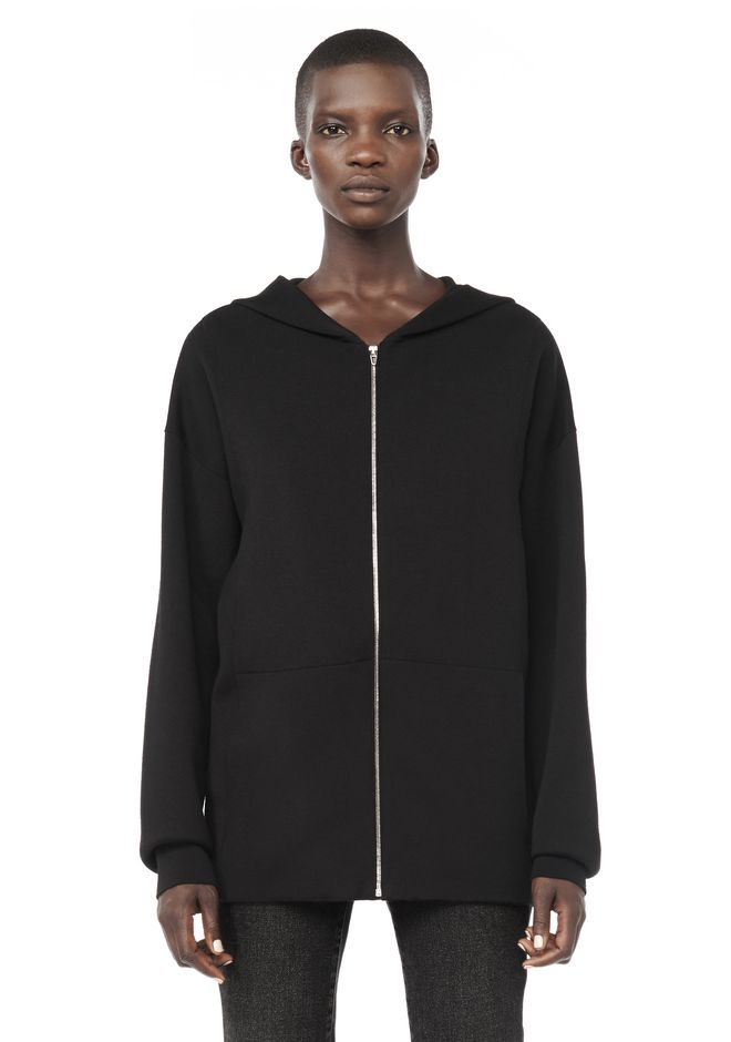 ALEXANDER WANG knitwear-ready-to-wear-woman ZIP HOODIE WITH SEAMLESS POCKET
