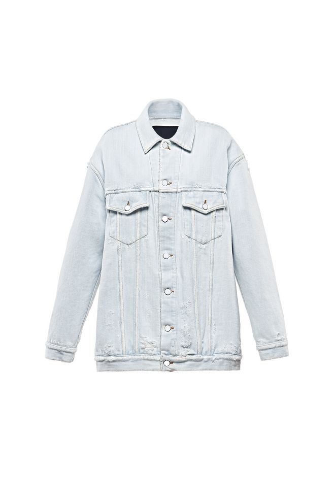 ALEXANDER WANG DAZE OVERSIZED DESTROYED DENIM JACKET DENIM Adult 12_n_a