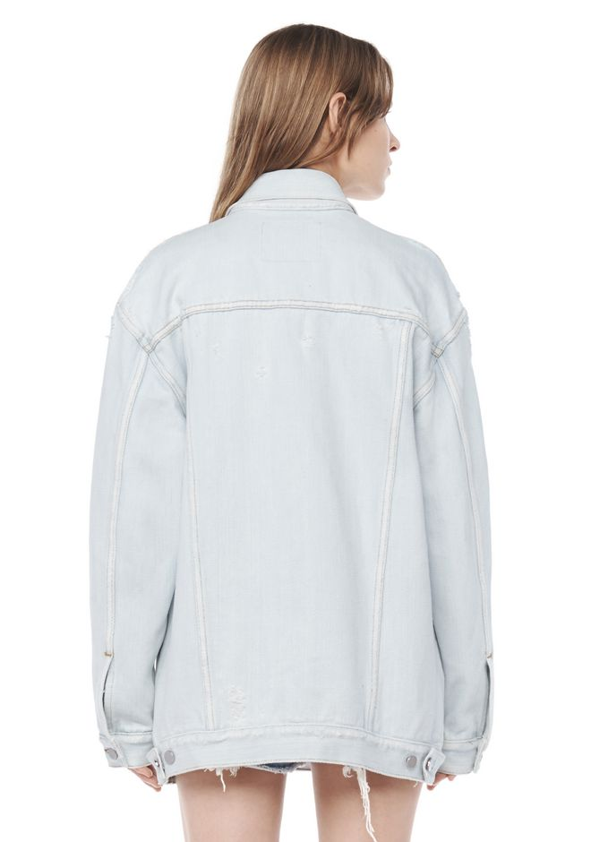 ALEXANDER WANG DAZE OVERSIZED DESTROYED DENIM JACKET DENIM Adult 12_n_d