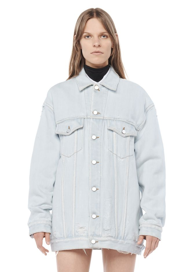ALEXANDER WANG DAZE OVERSIZED DESTROYED DENIM JACKET DENIM Adult 12_n_e