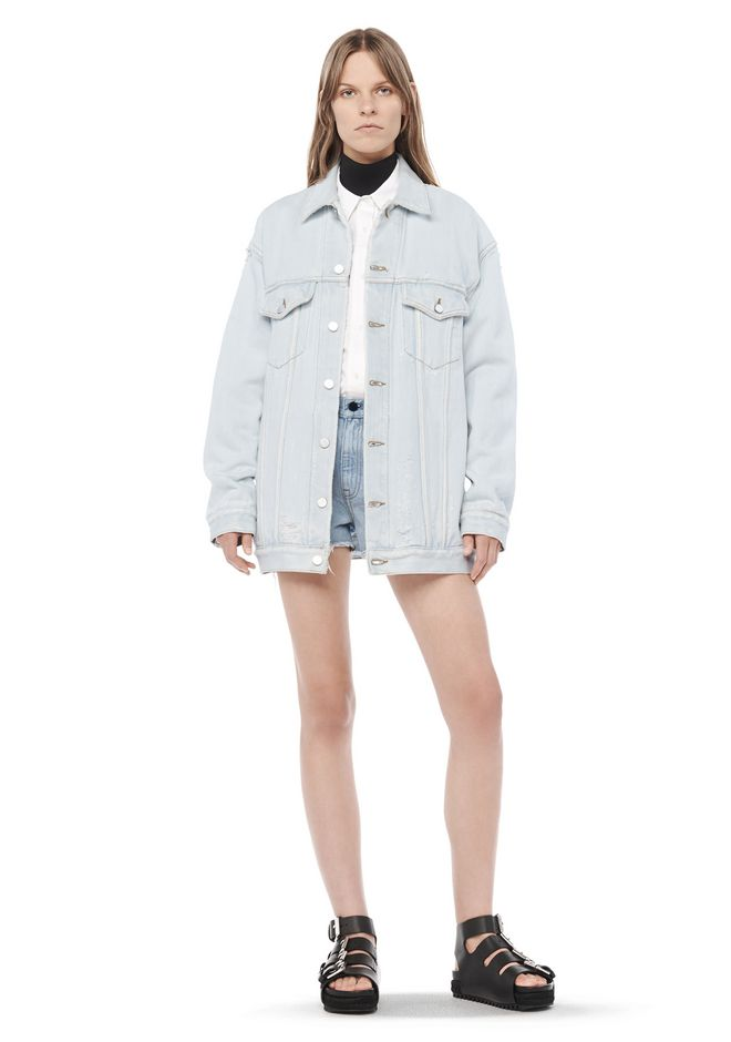 ALEXANDER WANG DAZE OVERSIZED DESTROYED DENIM JACKET DENIM Adult 12_n_f