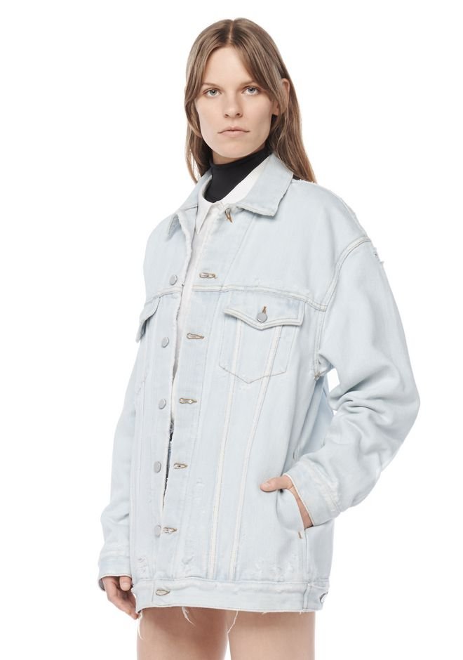 ALEXANDER WANG DAZE OVERSIZED DESTROYED DENIM JACKET DENIM Adult 12_n_r