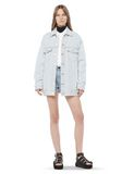 ALEXANDER WANG DAZE OVERSIZED DESTROYED DENIM JACKET DENIM Adult 8_n_f