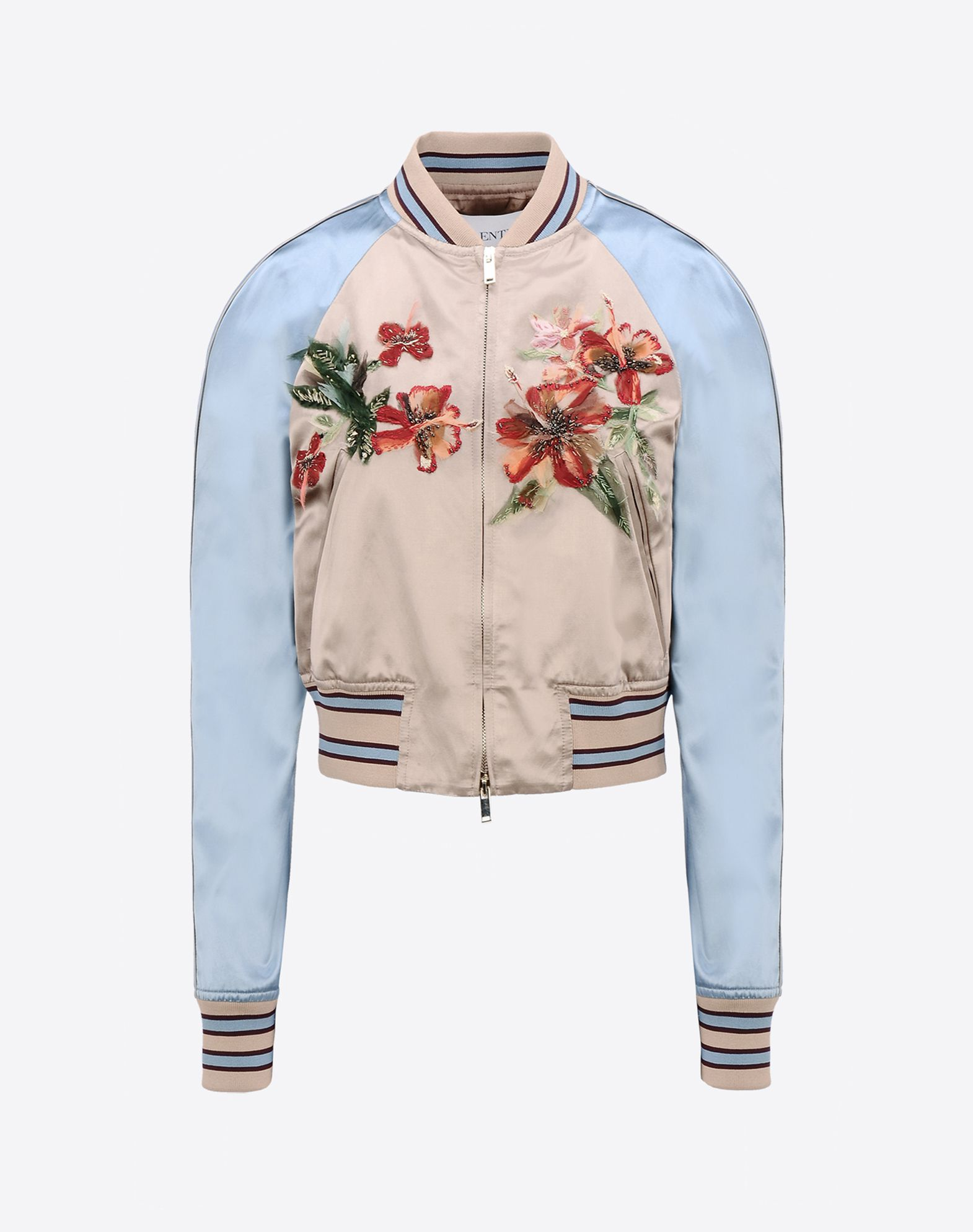 VALENTINO Contrasting applications Satin Two-tone pattern Turtleneck Multipockets Zip Lined interior Long sleeves  41618114ux