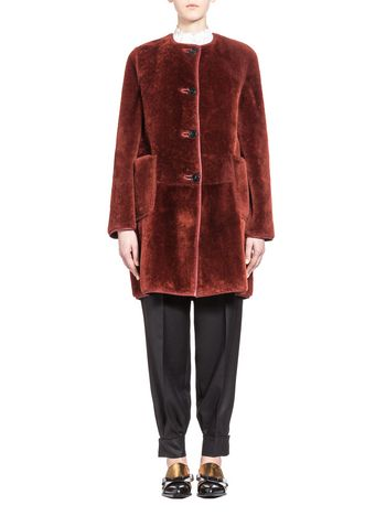 Marni Reversible coat in merino sheepskin Woman