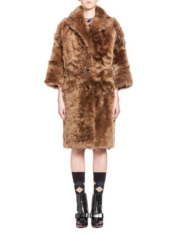 Marni Coat in long-haired sheepskin Woman