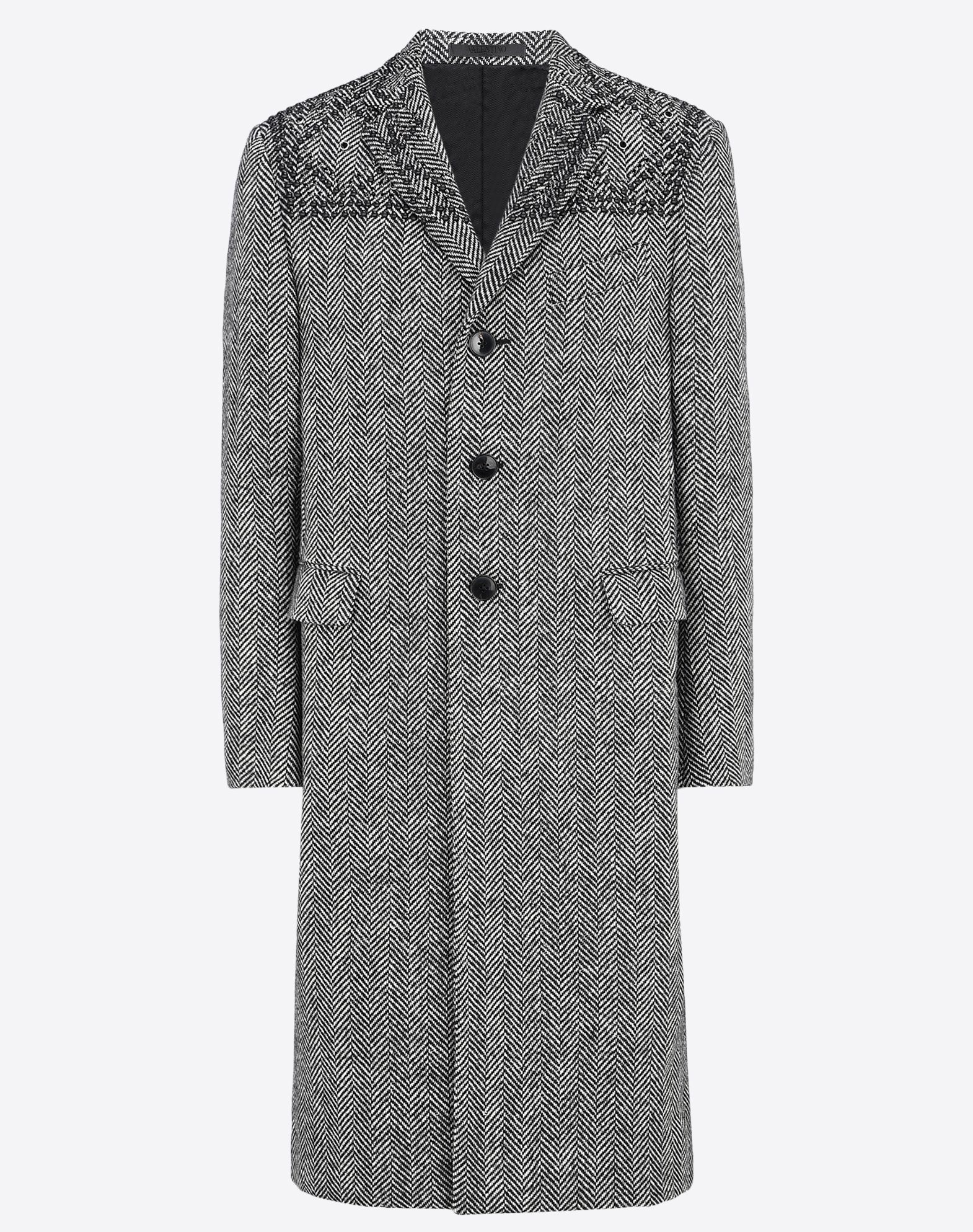 VALENTINO Contrasting applications Tweed Herringbone Lapel collar Buttoned cuffs Three pockets Two inside pockets 3 buttons Rear slit Lined interior Long sleeves  41655800rg