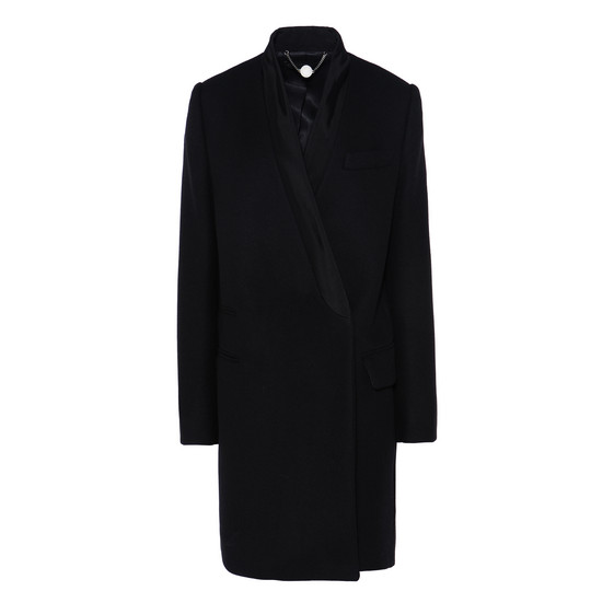 Black Wool Melton Coat