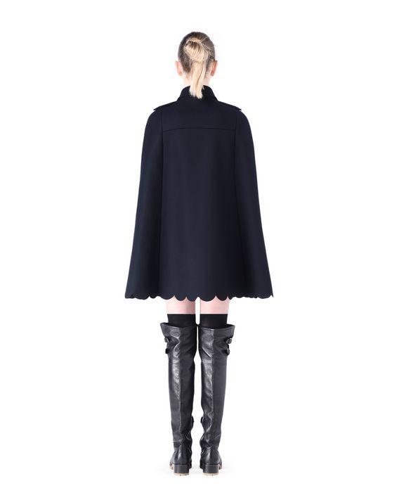 REDValentino Scalloped trim wool cape