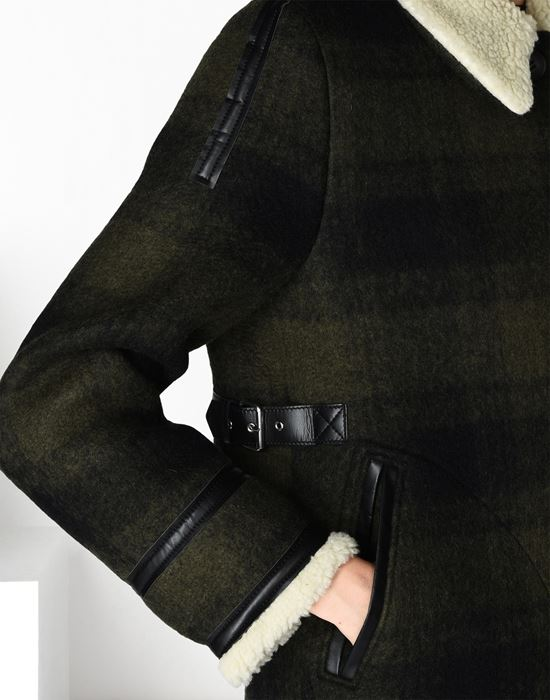 MM6 MAISON MARGIELA Checked coat with faux shearling detail Coat D a