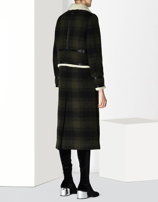 MM6 MAISON MARGIELA Checked coat with faux shearling detail Coat D d