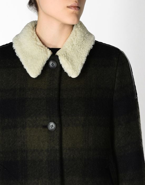 MM6 MAISON MARGIELA Checked coat with faux shearling detail Coat D e
